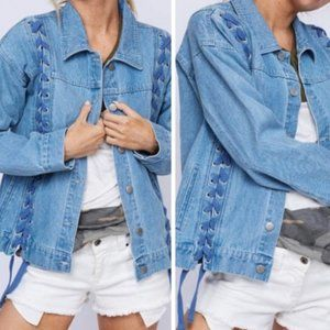 1 Left! 🥳Host Pick! Denim Jacket w/Lace-Up Detail
